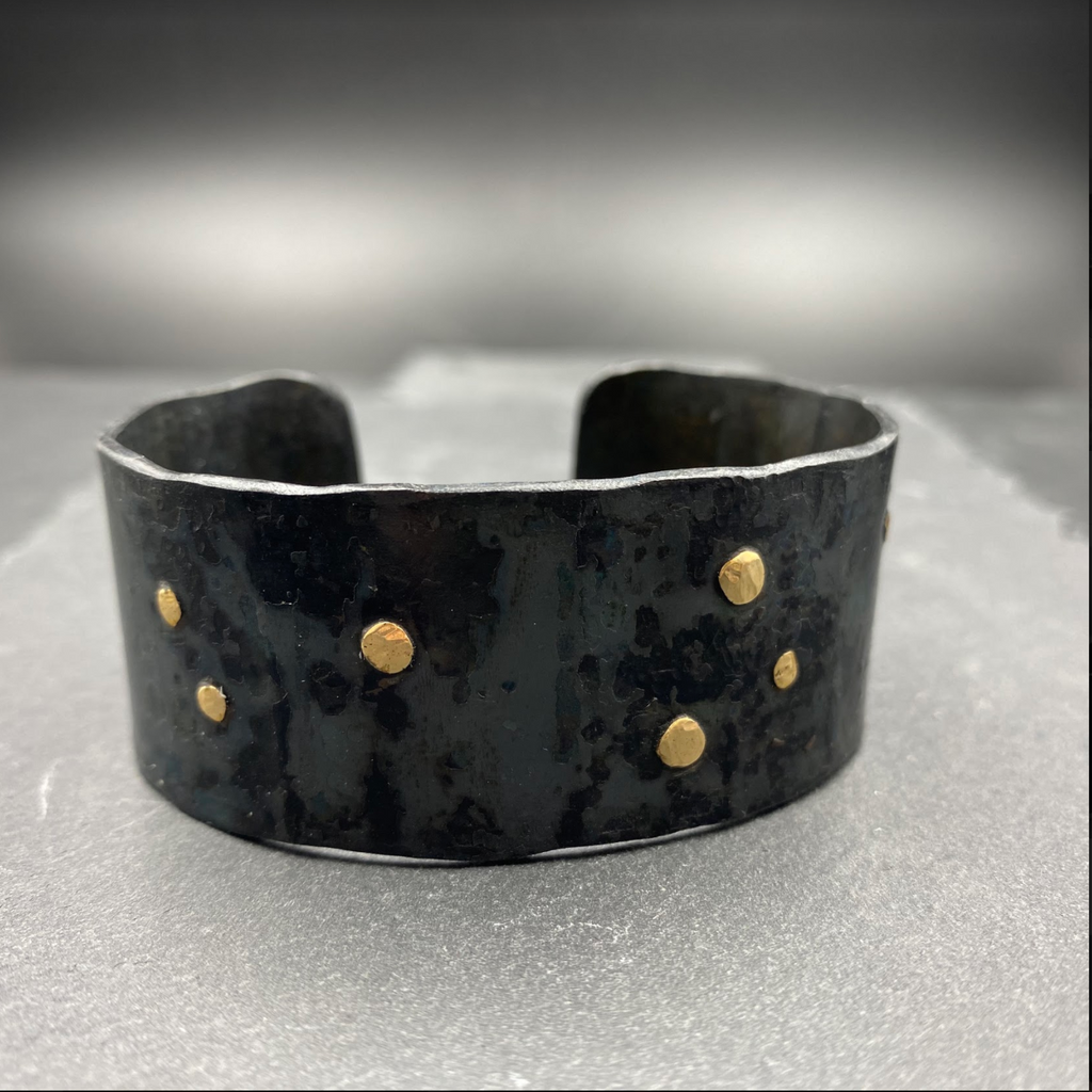 Steel Cuff With Gold Rivets