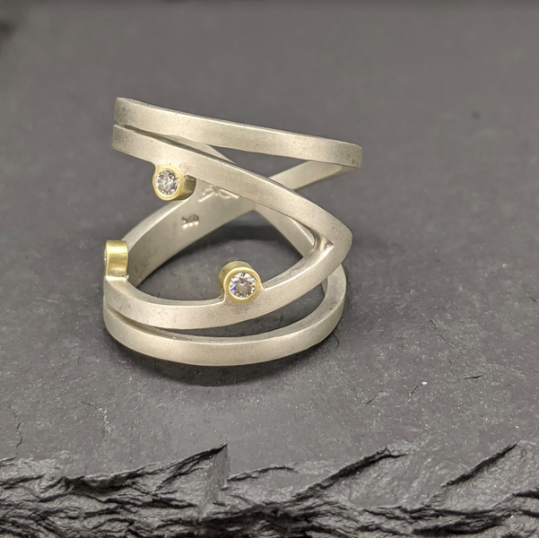 Sterling Silver Constellation Ring With Diamonds  and Yellow Gold