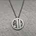 Oxidized Sterling silver Linear Circle Pendant With Diamonds