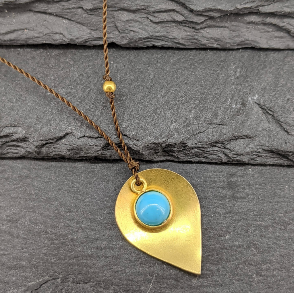 Gold and Turquoise Drop Necklace