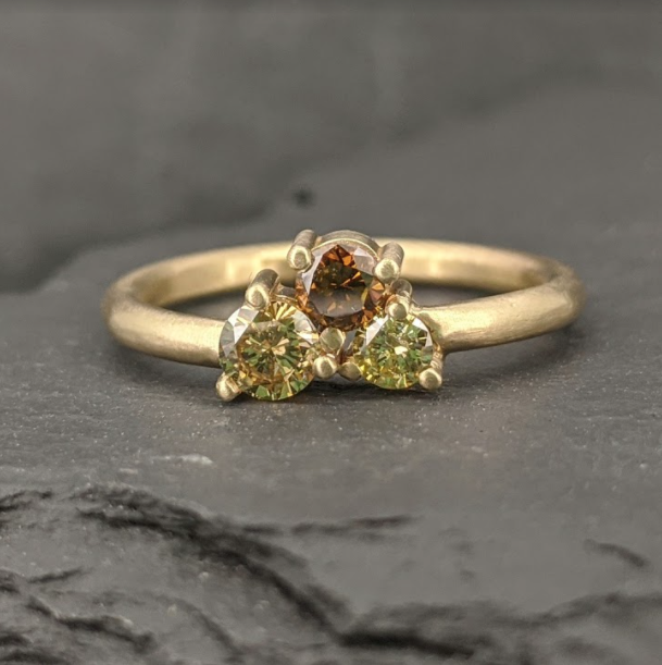 Autumn Cluster Ring, alternative engagement ring with colored diamonds