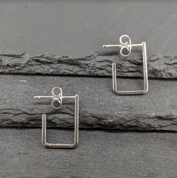 Sterling Silver Rectangle Hook Stud Earrings