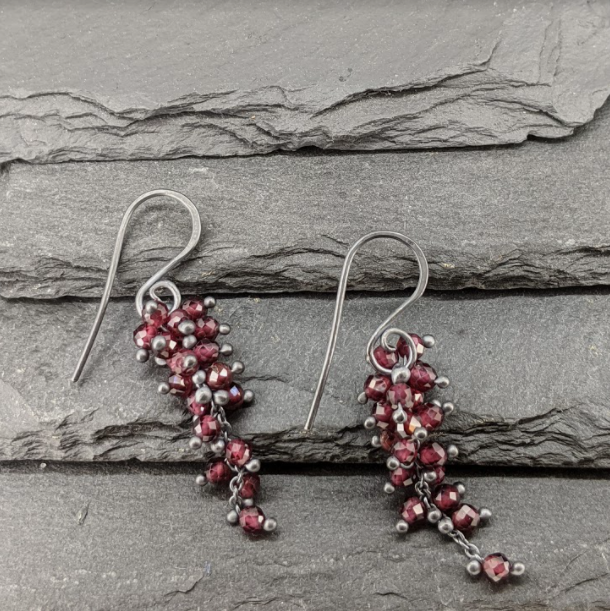 Garnet Wisteria Earrings