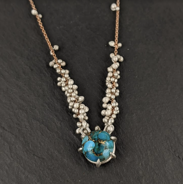 Copper Turquoise Caviar Necklace