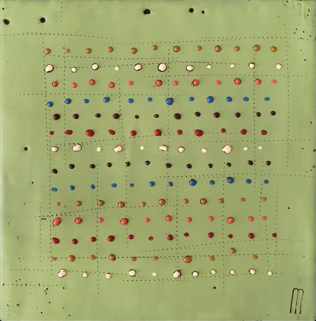 Dots on Sage encaustic painting