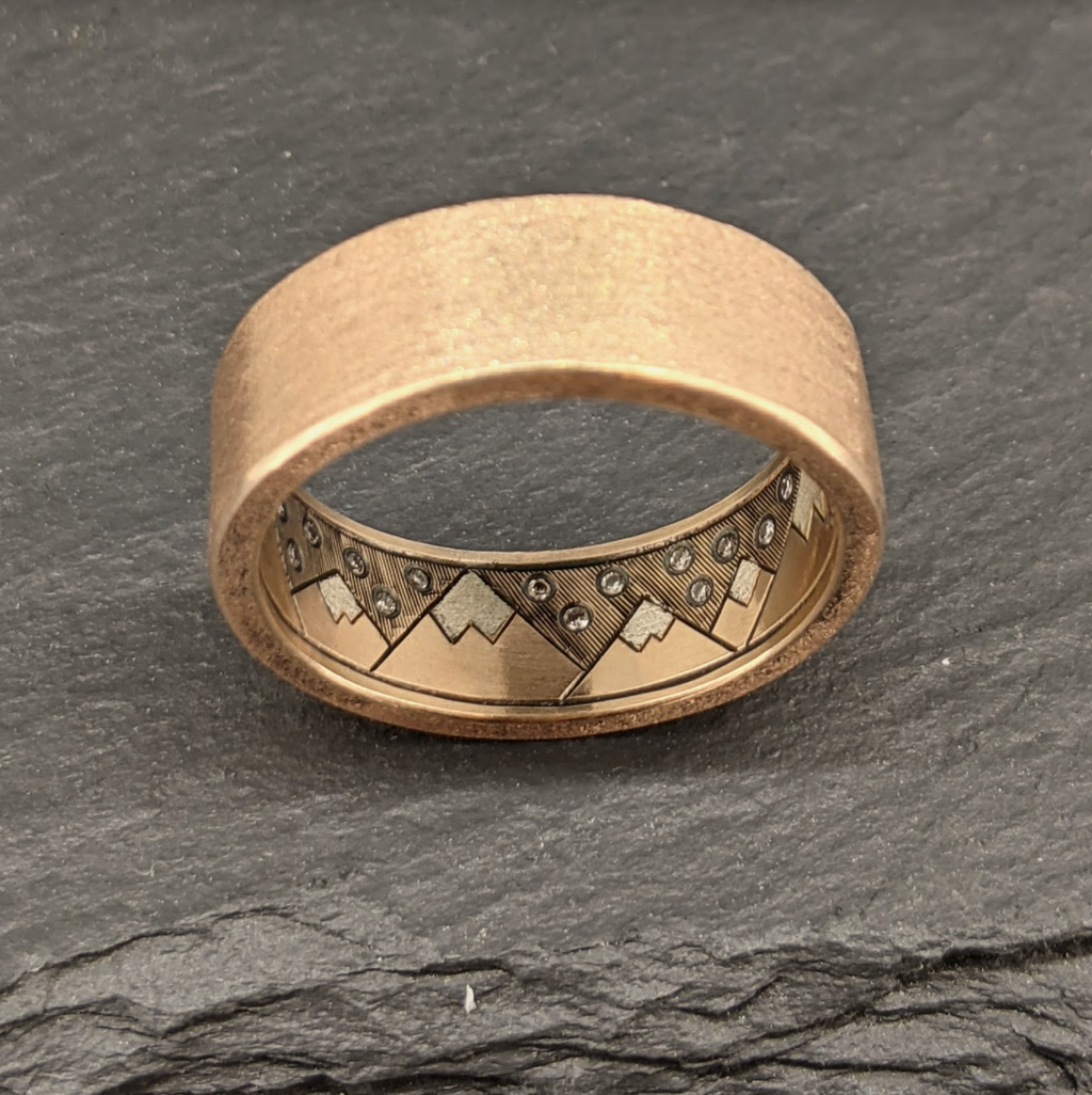 Brushed Rose Gold Ring with Hidden Mountains