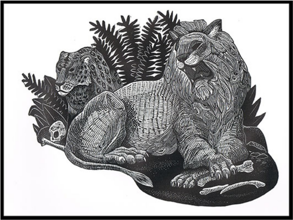 Kings lion woodblock print