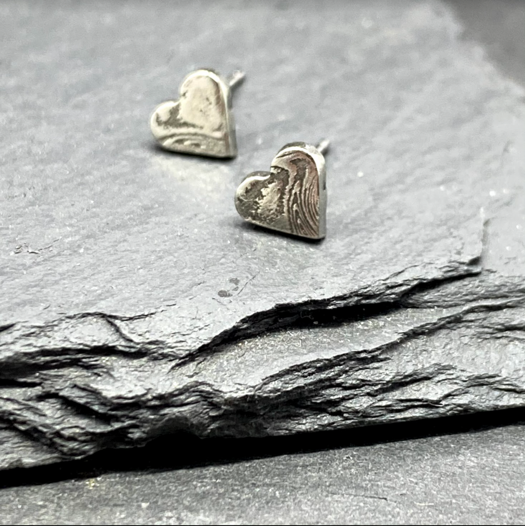 Damascus Heart Studs