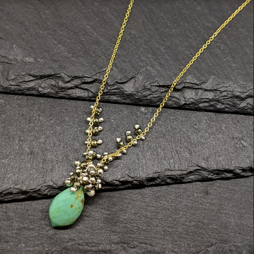 Turquoise and Pyrite Dew Drop Necklace