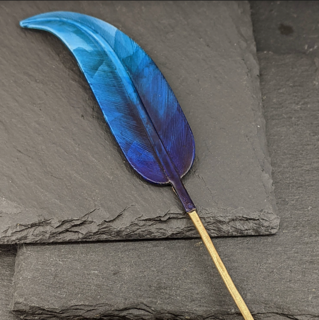 Blue Feather Hair Pin