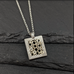 Square Damascus Pendant with Silver and Black Diamond