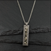 Long Rectangle Pendant in Damascus and Sterling Silver