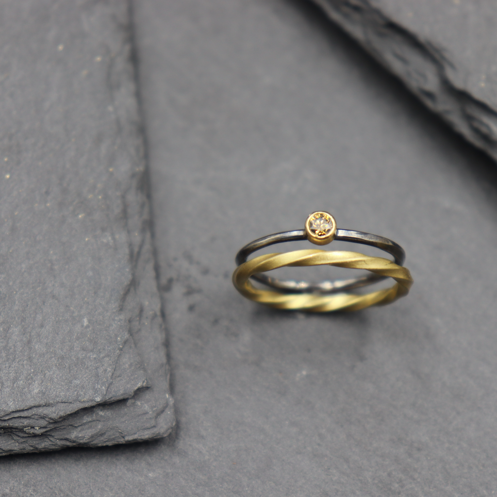Two Tone Ring with Champagne Diamond