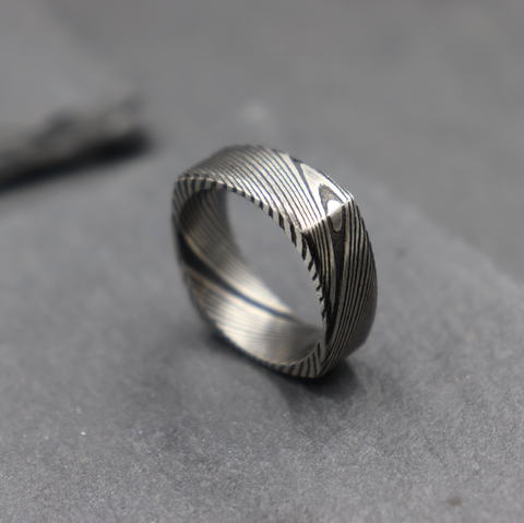 Square Damascus Ring in Black and Steel