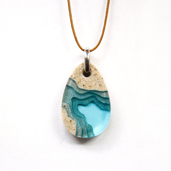 The Cove Necklace resin and beach sand jewelry