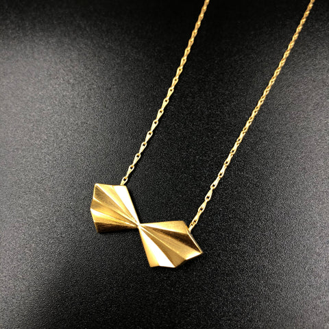 Pleated Bow Necklace - Gold