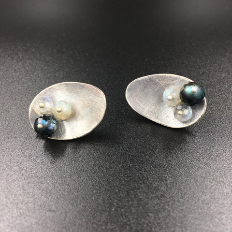 Faceted Pearl and Labradorite Post Earrings