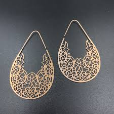 Pattern #1 Teardrop Hoops - Rose Gold