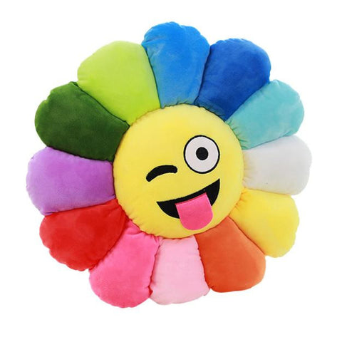 Emoji Expression Of Sunflowers Cushion Intervene Pillow Pillow Toy Gift