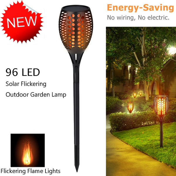 Solar Path Torch Light Flame Lighting 96 LED Flickering Outdoor Garden Lamp