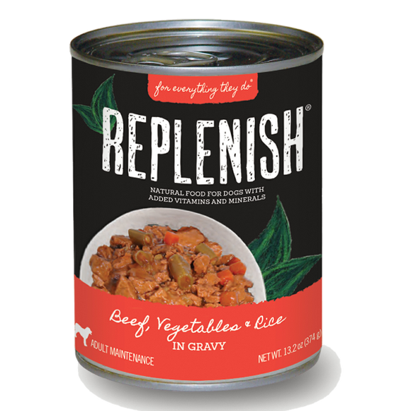 Replenish Beef, Vegetables & Brown Rice in Gravy Can Dog Food (12 Pack)