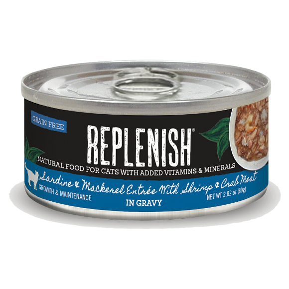 Replenish Sardine & Mackerel Entrée with Shrimp & Crab Meat in Gravy Cat Can Food (24 Pack)