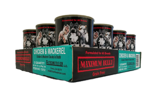 Maximum Bully Chicken and Mackerel 13.2 oz (374g) can dog food 12pk.