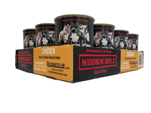 Maximum Bully Savory Chicken Cubes in Gravy 13.2 oz (374g) can dog food 12PK