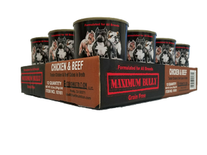 Maximum Bully Tender Chicken & Beef Cubes in Broth 13.2 oz (374g) can dog food 12pk.