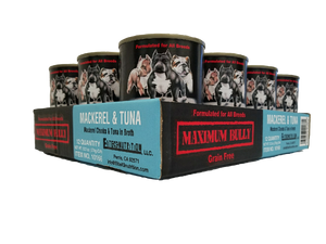 Maximum Bully Mackerel Chunks & Tuna in Broth 13.2 oz (374g) can dog food 12pk.