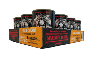 Maximum Bully Tuna & Shredded Chicken in Broth 13.2 oz (374g) can dog food 12pk.