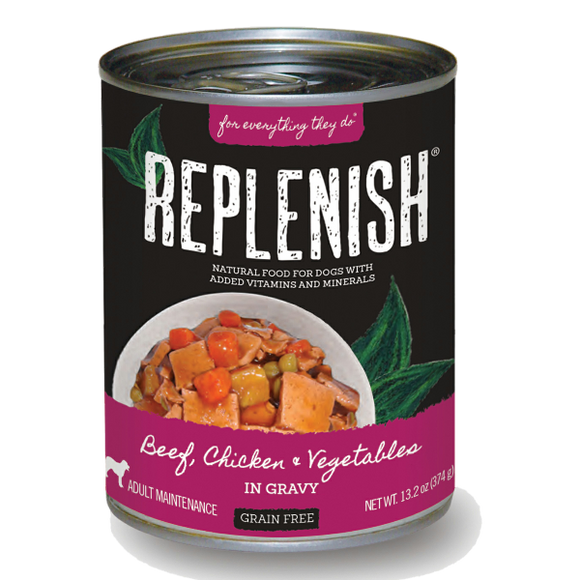 Replenish Beef, Chicken & Vegetables in Gravy Can Dog Food (12 Pack)