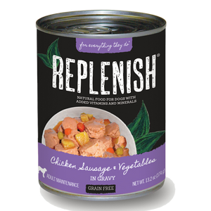 Replenish Chicken Sausage & Vegetables in Gravy Can Dog Food (12 Pack)