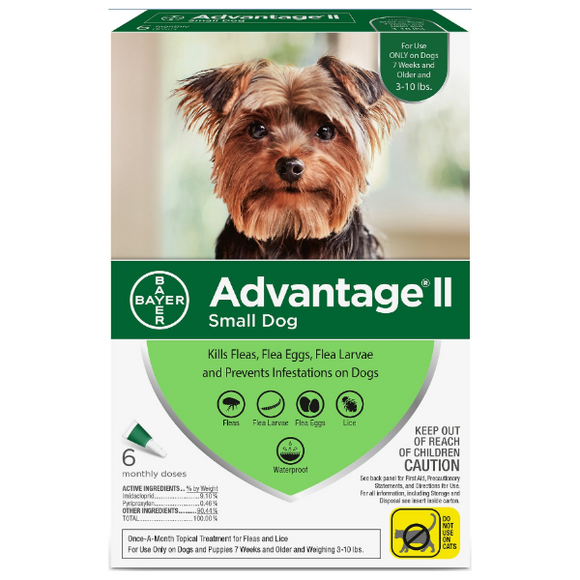 Advantage II Dog Small 3‐10 lbs. 6 Pack
