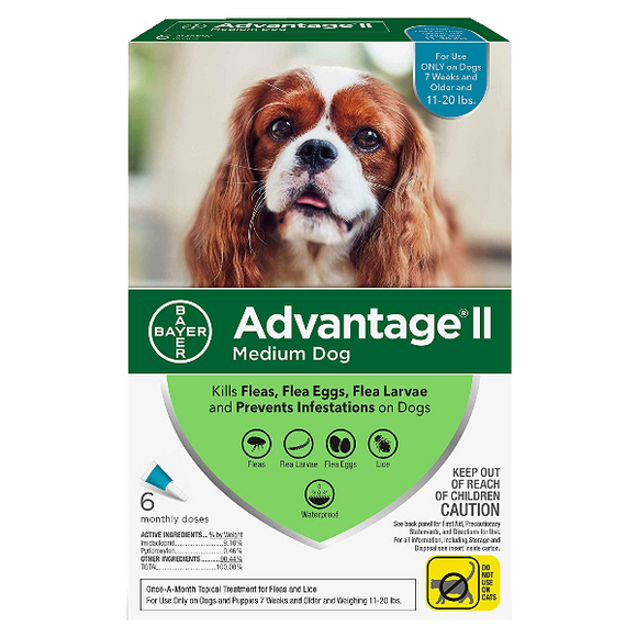 Advantage II Dog Medium 11‐20 lbs. 6 Pack