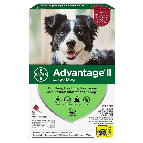 Advantage II Dog Large 21‐55 lbs. 6 Pack