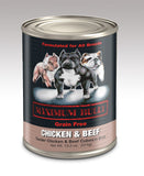 Maximum Bully Tender Chicken & Beef Cubes in Broth 13.2 oz (374g) can dog food.