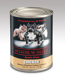 Maximum Bully Savory Chicken Cubes in Gravy 13.2 oz (374g) can dog food.