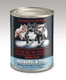 Maximum Bully Mackerel Chunks & Tuna in Broth 13.2 oz (374g) can dog food.