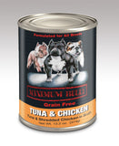 Maximum Bully Tuna & Shredded Chicken in Broth 13.2 oz (374g) can dog food.
