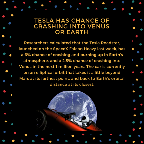tesla has chance of crashing into venus or earth