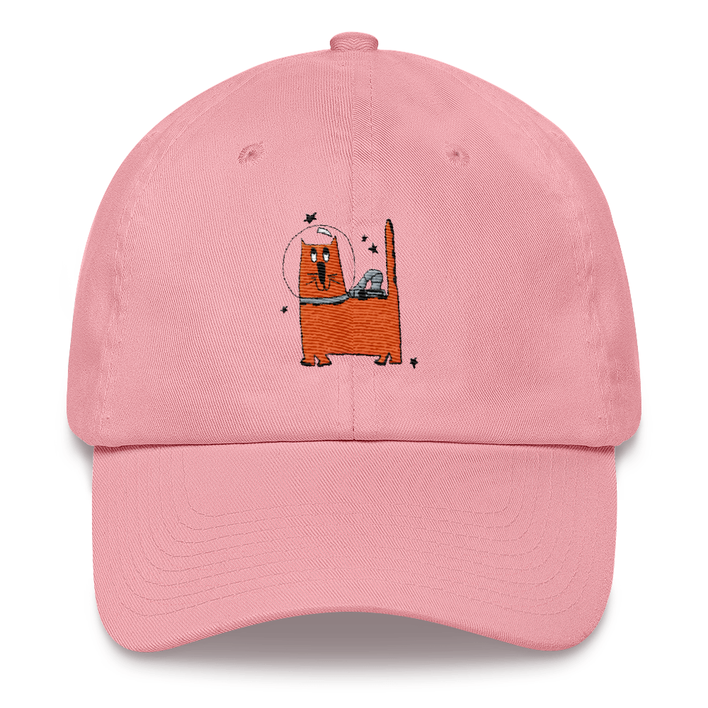 pink cosmic cat dad hat