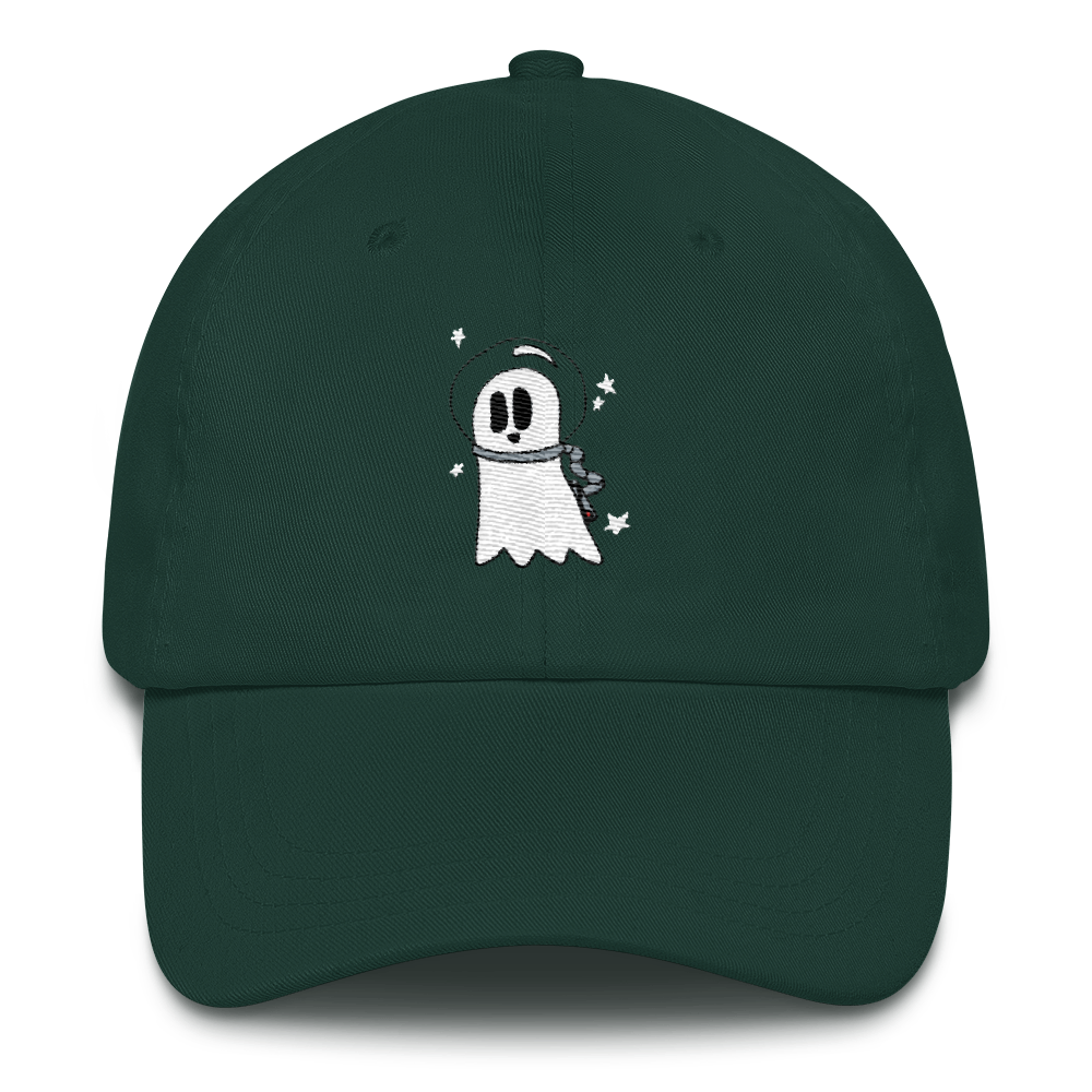 green cosmic ghost dad hat