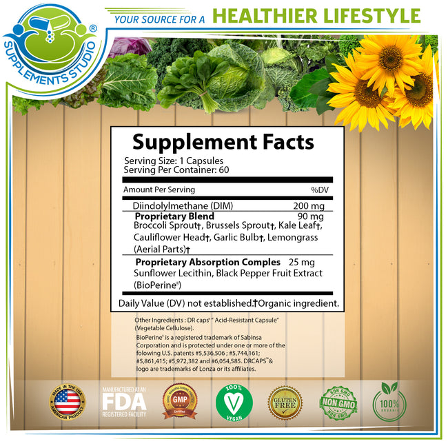 OPTIMAL DIM Supplement 200mg, Estrogen Balance, Whole Foods and Sunflower Lecithin/BioPerine Proprietary Absorption Complex, Aromatase Inhibitor