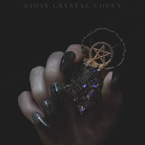 The Pentacle of Truth Titanium Aura Quartz Talisman