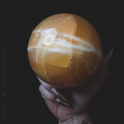 Orange Calcite Crystal Ball of Sunshine