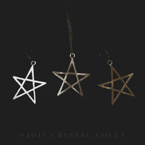 The Golden Pentagram Earrings and Necklace