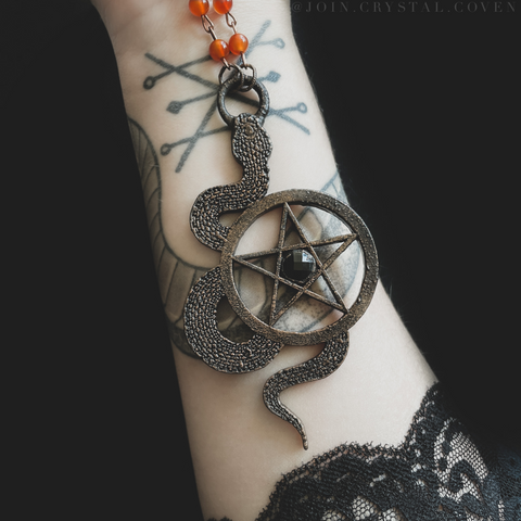 The Coven Snake Talisman in Black Onyx and Carnelian