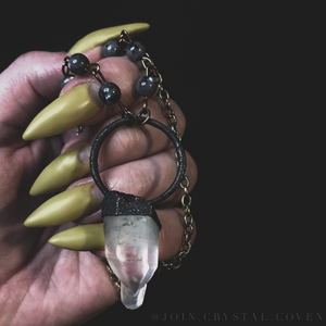 Larvikite and Quartz Crystal Talisman