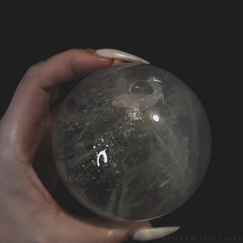 Full Moon Clear Quartz Crystal Ball